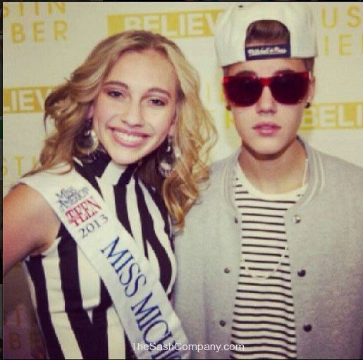 Miss Michigan Outstanding Teen with Justin Bieber