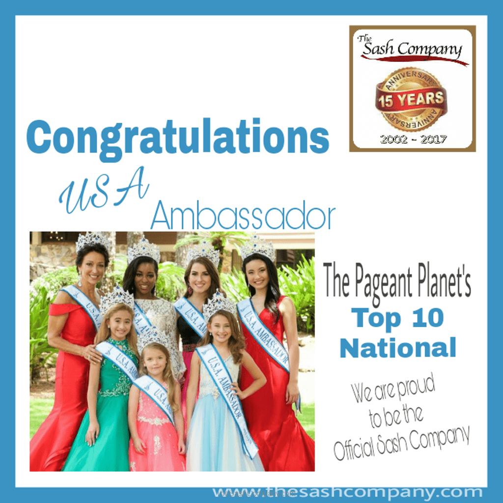 USA Ambassador ranks BEST Top 10 National Pageants with The Pageant Planet for 2016