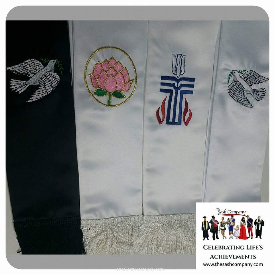 Dove of Peace, Presbyterian, Lotus, Interfaith Clergy Minister Stoles