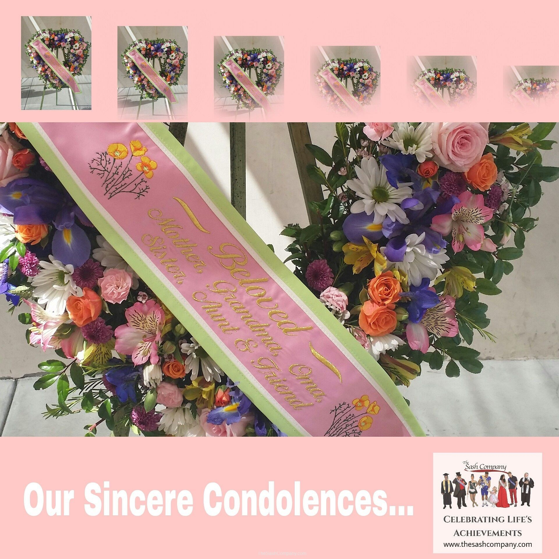 Celebration of Life Funeral Floral Sash
