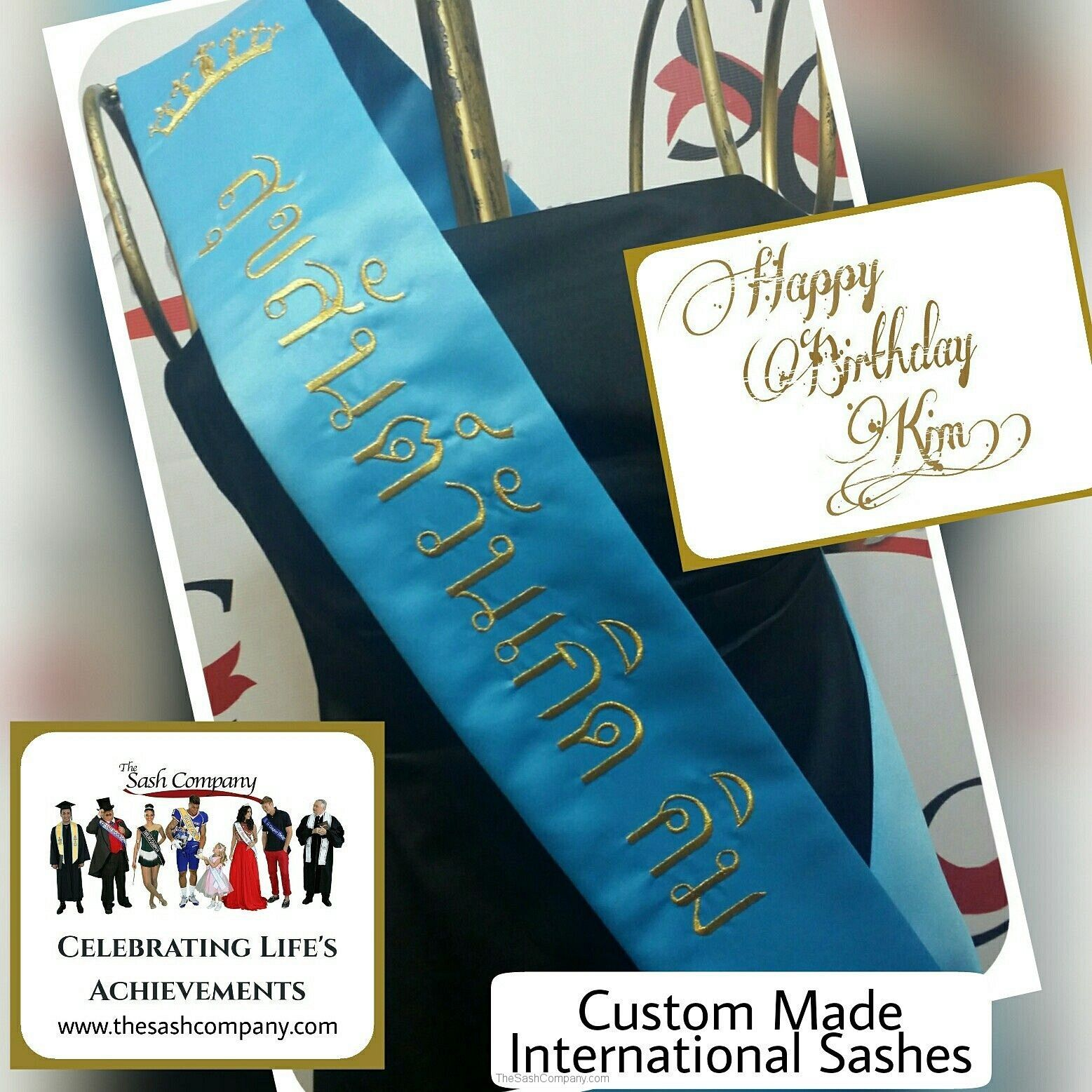 International Birthday Banner Sash in Thai
