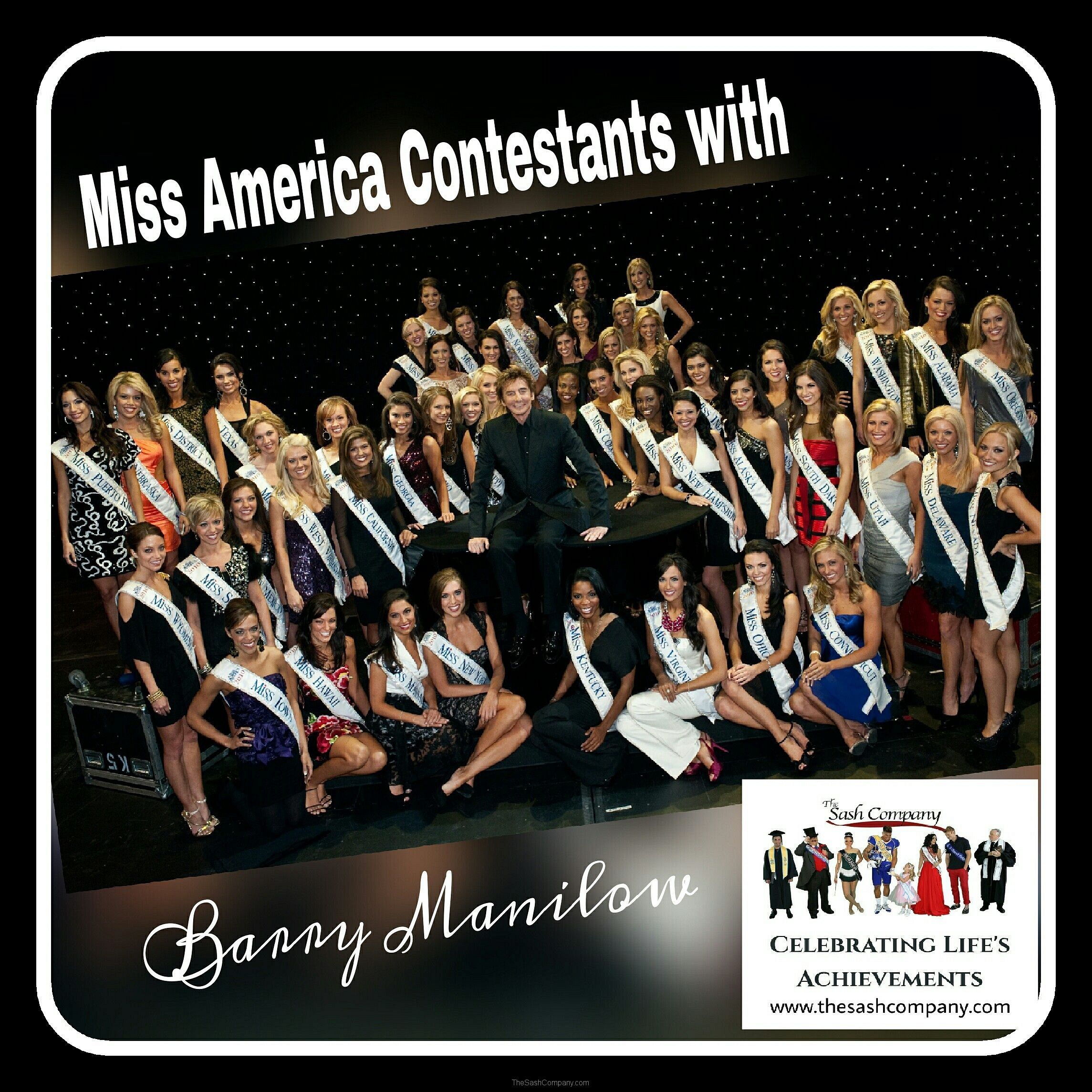 Miss America Contestants with Barry Manilow