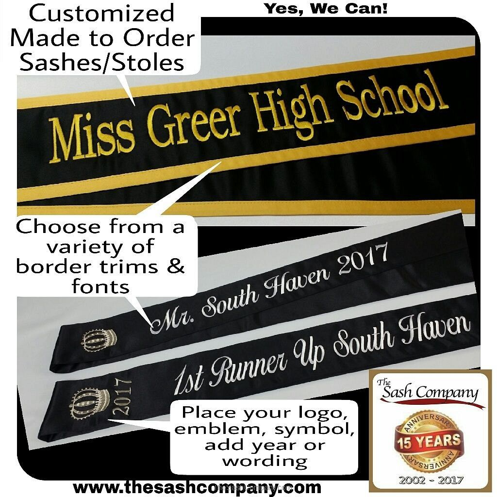 High School Event Pageant Style Sashes