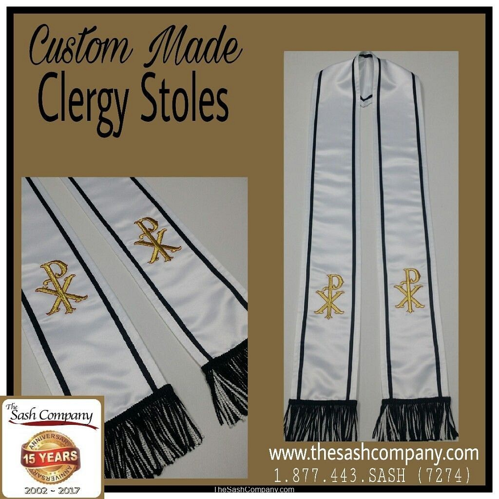Minister Clergy Wear Custom Made Stoles with Christ Name