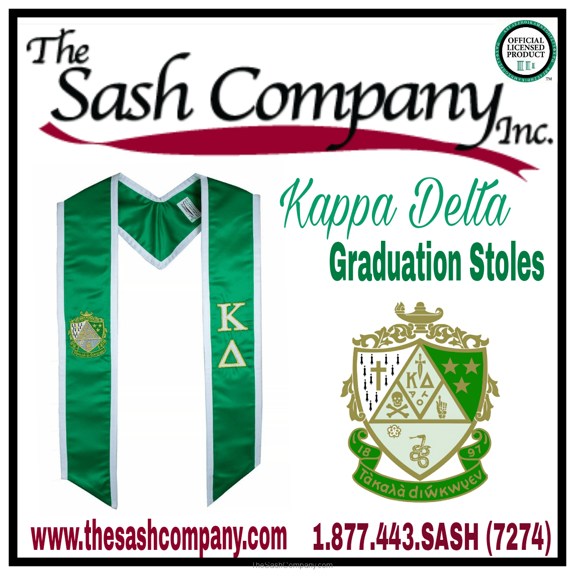 Kappa Delta Sorority Graduation Stoles
