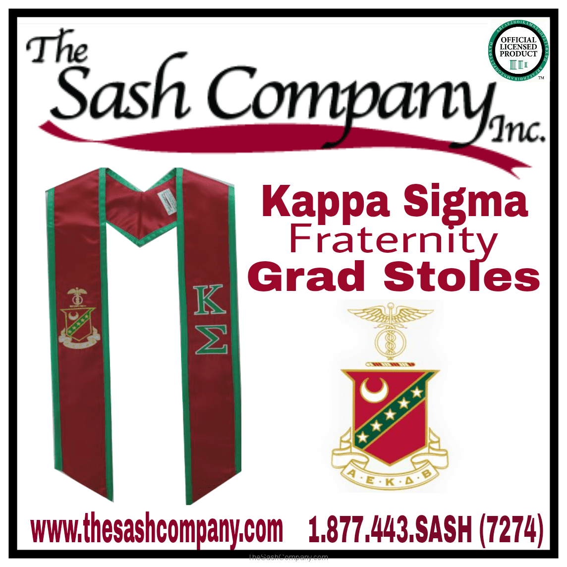 Kappa Sigma Fraternity Commencement Graduation Stoles