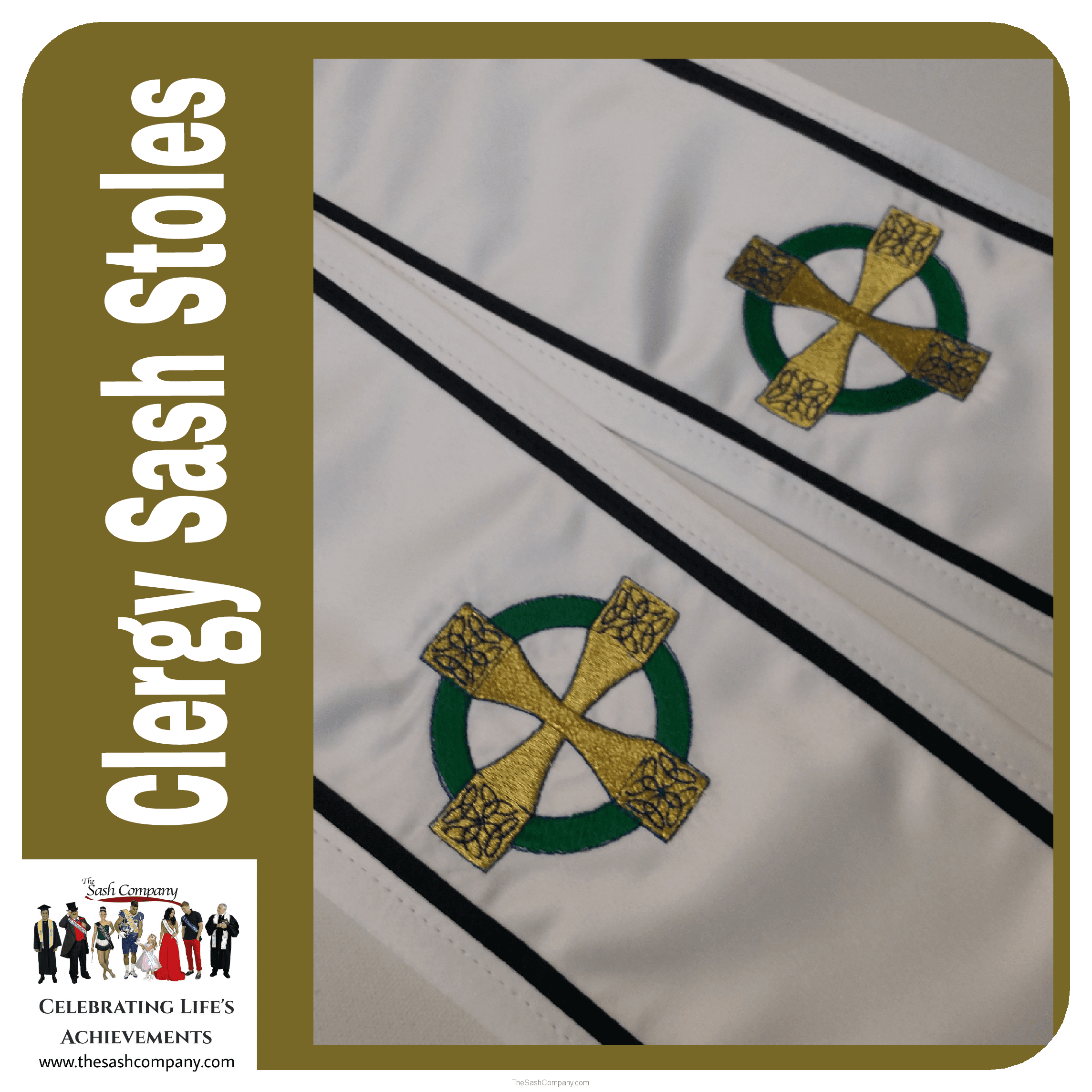 Clergy Minister Celtic Design Sash Stole