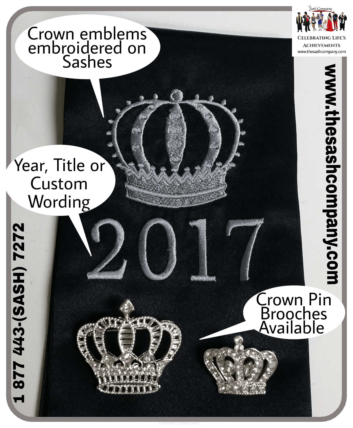 Embroidered Crown on a Sash and Crown Brooch Pins