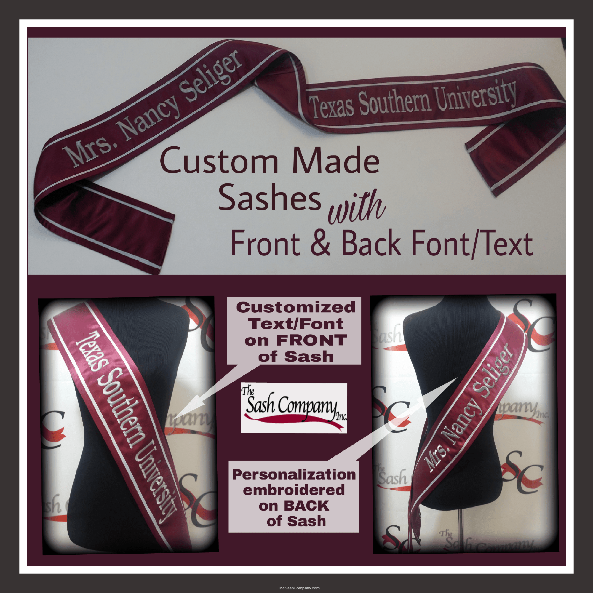Texas Southern University Custom-Made Sash with Front and Back Text