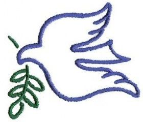 dove with olive branch embroidery