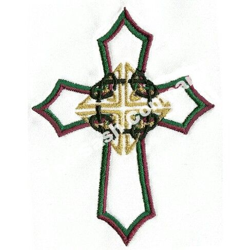Celtic Knot Cross Clergy Stole Red With Double Border And Fringe