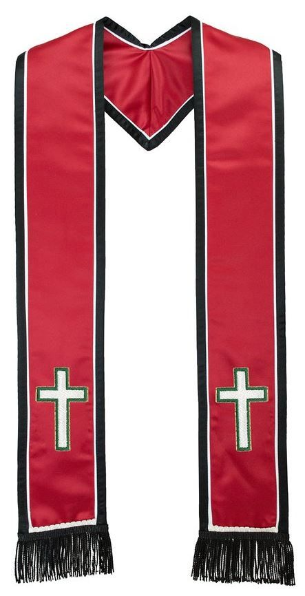 Religious Cross Symbol Red Clergy Stole Double Border And Fringe