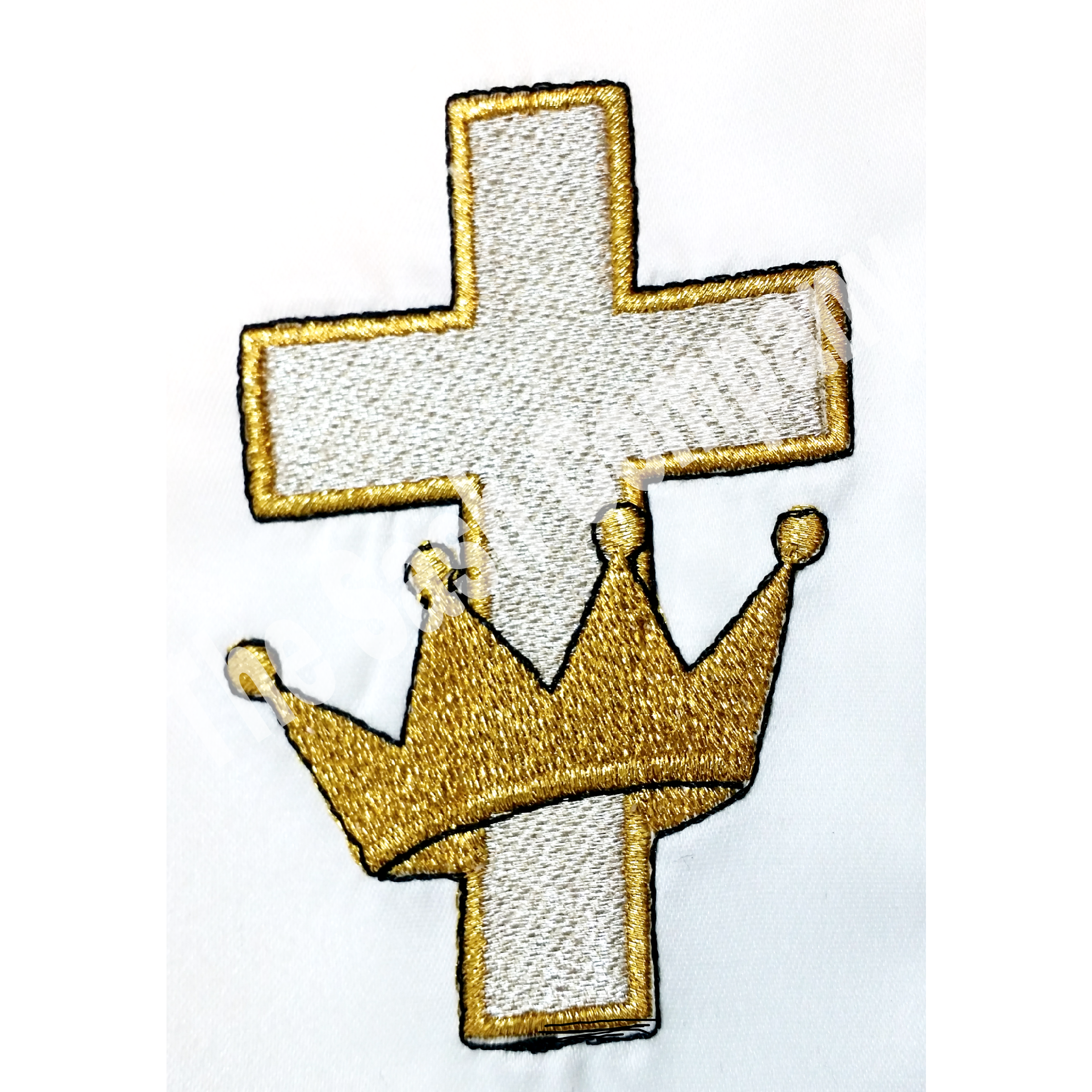 Crown With Cross White Clergy Stole Matching Border And Black Fringe