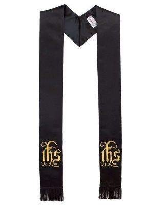 In His Service IHS Black Clergy Stole