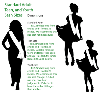 adults-teen-youth-sizing Princess Local Sashes