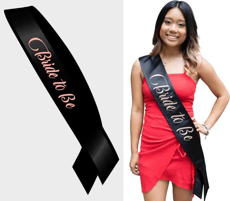 Bride To Be Sash - Black w Rose Gold