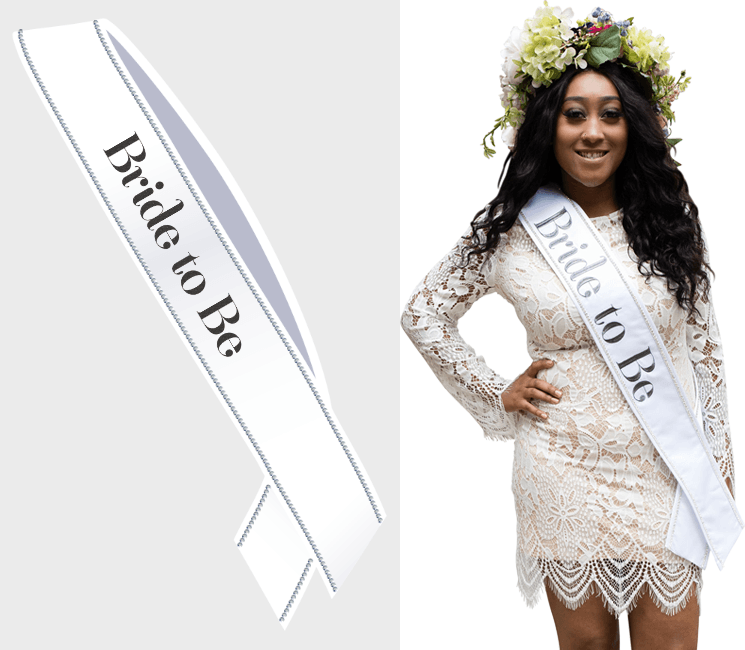 Bride To Be Sash - Black Text